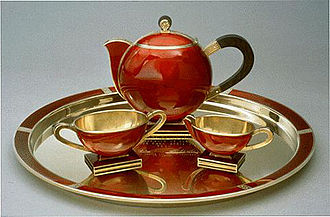 Tea set - Gold and enamel tea set made by David Andersen in the 1930s, as a royal gift from the Norwegian Crown Prince to President Roosevelt