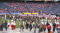 Teams on field pregame at 2009 Poinsettia Bowl.JPG