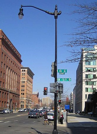 Street lighting in the District of Columbia - An example of a Decorative Teardrop Pole, approved by the U.S. Commission of Fine Arts for use in the District of Columbia.