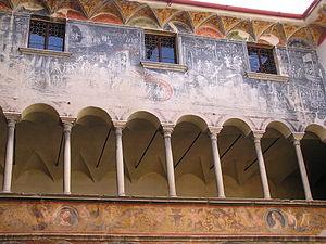 Palazzo Besta - Frescoed court in Palazzo Besta.