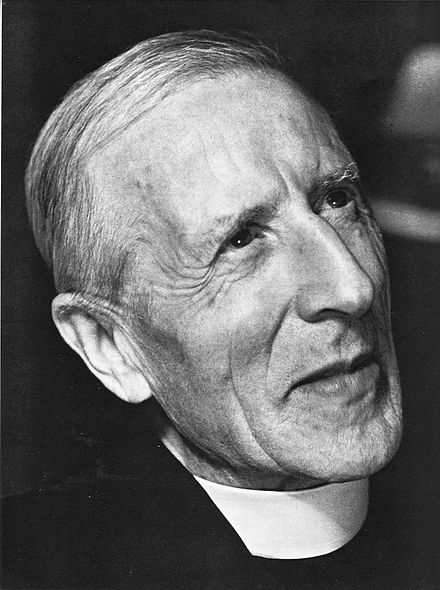 Pierre Teilhard de Chardin, a Jesuit priest and scientist, wrote that moral progress and biological evolution would converge to unify all in an idealistic existence with God. TeilhardP 1947.jpg