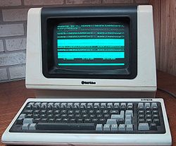 Time shared computer terminals connected to central computers were sometimes used before the advent of the PC, such as the TeleVideo ASCII character mode smart terminal pictured here.