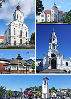 Left to right:Telšiai Cathedral, Curia of the Roman Catholic Diocese of Telšiai, tourism center, Church of the Assumption of the Blessed Virgin Mary into Heaven, Telšiai, Telšiai tower