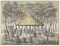 Tempel en tuin te Boekel, 1831 Gezigt van Tempel en Tuin te Boekel. Opgerigt en aangelegd door de dienstdoende schutterij der Stad Groningen. Uit erkentenis voor het vriendschapplijk onthaal op den 23 Juny 1831, aan de , RP-P-1927-900.jpg