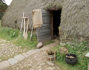 Scottish society in the early modern era - Thatched house in 'Baile Gean' township, Highland Folk Museum illustrates rural poverty.