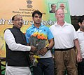 The Minister of State for Youth Affairs and Sports (IC), Water Resources, River Development and Ganga Rejuvenation, Shri Vijay Goel meeting the World Record holder Javelin thrower Neeraj Chopra, in New Delhi on July 27, 2016.jpg