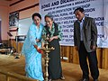 The Mission Director, NRHM, Sikkim, Dr. (Mrs.) L.D. Lepcha lighting the lamp to inaugurate the Orientation Workshop on NRHM, organised by Song & Drama Division Kolkata, at Gangtok . The Director (M&C), PIB, Gangtok.jpg