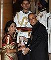 The President, Shri Pranab Mukherjee presenting the Padma Shri Award to Ms. Sabitri Chatterjee, at a Civil Investiture Ceremony, at Rashtrapati Bhavan, in New Delhi on March 31, 2014.jpg
