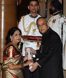 The President, Shri Pranab Mukherjee presenting the Padma Shri Award to Ms. Sabitri Chatterjee, at a Civil Investiture Ceremony, at Rashtrapati Bhavan, in New Delhi on March 31, 2014.jpg