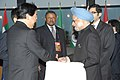 The Prime Minister, Dr. Manmohan Singh meeting the Japanese Prime Minister, Mr. Yoshihiko Noda, on the sidelines of G-20 Summit, in Cannes, France on November 03, 2011.jpg