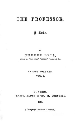 The Professor (novel) - Title page of the 1857 first edition.