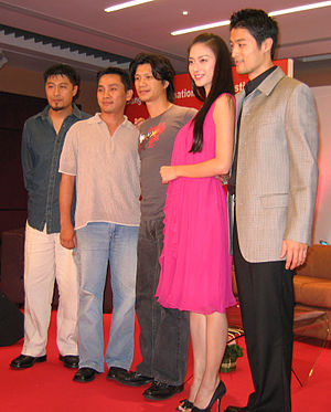 The Rebel (2007 film) - From left, director Charlie Nguyen, producer Jimmy Pham Nghiem and actors Dustin Nguyen, Johnny Tri Nguyen, Ngo Thanh Van, at a press conference during the 2007 Bangkok International Film Festival, where the film was screened twice.