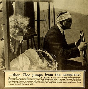 The Secret of the Submarine - Advertisement (1916). The caption incorrectly states Thomas Chatterton is the pilot of the plane but the actor pictured is Lamar Johnstone.