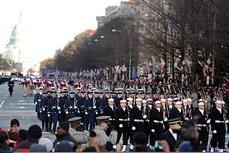 United States Navy Ceremonial Guard - The Ceremonial Guard, with the United States Air Force Honor Guard and the 3rd U.S. Infantry Regiment (The Old Guard) during an inaugural parade.