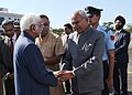 The Vice President, Shri M. Hamid Ansari being bid farewell by the Governor of Assam, Shri Banwarilal Purohit, on his departure, at Tezpur Airport, Assam.jpg