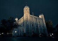 The White Tower at the Tower of London as seen from the Northeast at Night.jpg