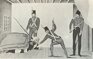 Anthony Fenn Kemp - A propaganda cartoon of Bligh's arrest in Sydney in 1808, portraying Bligh as a coward