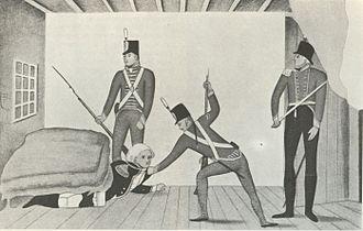 Anthony Fenn Kemp - A propaganda cartoon of Bligh's arrest in Sydney in 1808, portraying Bligh as a coward
