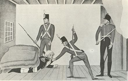 A propaganda cartoon of the arrest of Governor William Bligh during the Rum Rebellion of 1808 The arrest of Bligh propaganda cartoon from around 1810.jpg