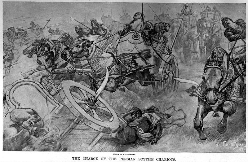 A black-and-white, grotesque drawing of scythed chariots galloping forward in confusion