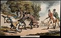 The dance of death; the duel. Coloured aquatint by T. Rowlan Wellcome V0041975.jpg