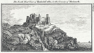 The north west view of Harlech Castle in the county of Merioneth