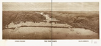 Twin Ports - 1915 Panoramic map of the Twin Ports, Superior on the left and Duluth on the right, by Henry Wellge