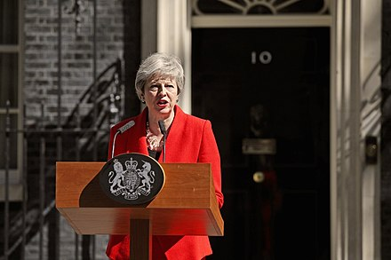 May announces her resignation outside 10 Downing Street on 24 May 2019 Theresa May declares resignation.jpg