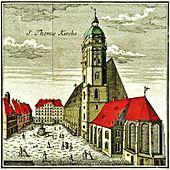 Thomaskirche in Leipzig 1749 (Kupferstich) (Quelle: Wikimedia)