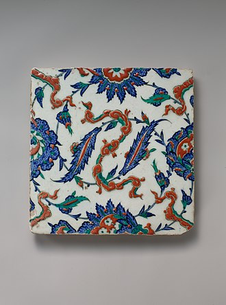 Culture of the Ottoman Empire - Tile with Floral and Cloud-band Design, c. 1578, Iznik Tile, Ottoman Empire, in the collection of the Metropolitan Museum of Art.