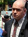Tim DeChristopher entering Scott Matheson Courthouse July 26, 2011 Salt Lake City Utah USA.jpg