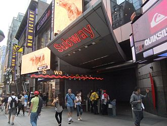 The entrance of the Times Square-42nd Street/Port Authority Bus Terminal station, in New York City. Times Square-42nd Street Entrance.JPG