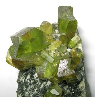 Titanite - Green titanite crystal cluster from the Tormiq Valley, Haramosh Mountains, Pakistan