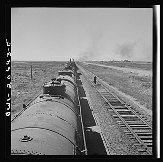 Tolar, New Mexico - Santa Fe train stopping for water at Tolar, March 1943