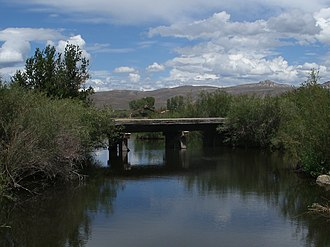 Tomichi Creek - Bridge over Tomichi Creek on the I Bar Ranch property
