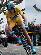 Froome in the leader s jersey on stage five s individual time trial at the  2013 Tour de Romandie a2b97b1e7