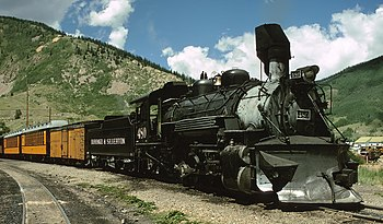 A steam locomotive of the Durango and Silverton Narrow Gauge Railroad in Silverton, Colorado.