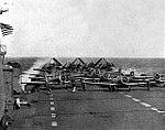 Training aircraft on deck of USS Saipan (CVL-48), circa in 1946.jpg