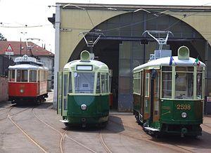 Heritage streetcar - Turin historic streetcars at depot