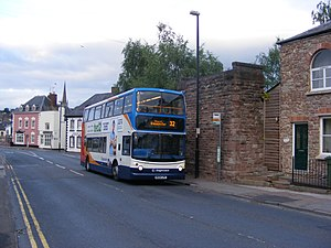 Hereford, Ross and Gloucester Railway - TransBus Trident ALX400 on service 32 to Gloucester at Five Ways, Ross-on-Wye adjacent to the bridge abutment which carried the railway through the town.