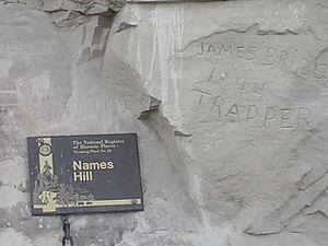 Names Hill - The Jim Bridger inscription on Names Hill