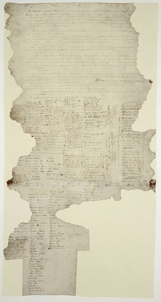 History of New Zealand - One of the few extant copies of the Treaty of Waitangi