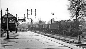 Trent railway station - A Down empties from the Derby/Burton direction passes Trent Station South Box in 1965