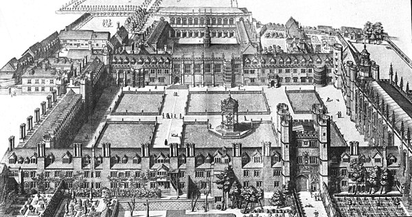 David Loggan's print of 1690 showing Nevile's Great Court (foreground) and Nevile's Court with the then-new Wren Library (background) - New Court had yet to be built Trinity College Cambridge 1690.jpg