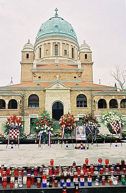Tuđman's grave at the Mirogoj graveyard (in the background)