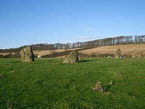 Torryburn - Tuilyies standing stones, beside the A985 road above Torryburn