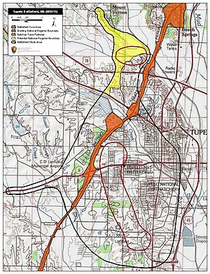 Battle of Tupelo - Map of Tupelo Battlefield core and study areas by the American Battlefield Protection Program.