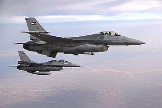 Jordanian Armed Forces - Royal Jordanian Air Force F-16 Fighting Falcon aircraft fighter pilots fly over Jordan October 19, 2009