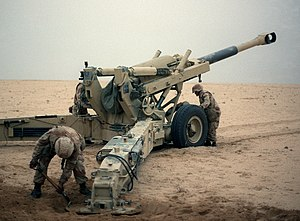 Battle of Khafji - Supporting artillery from the 10th Marine Regiment.