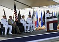 U.S. Navy Cmdr. Thomas E. Shultz, right, speaks during a change of command ceremony at Joint Base Pearl Harbor-Hickam, Hawaii, May 23, 2013 130523-N-ZK021-002.jpg